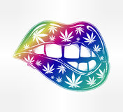 Sexy fatal biting lips with weed pattern. Pop art print in flash tattoo style. Drug consumption, marijuana use clip art. Concept design. Elegant tattoo artwork Stock Image