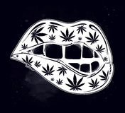Sexy fatal biting lips with weed pattern. Pop art print in flash tattoo style. Drug consumption, marijuana use clip art. Concept design. Elegant tattoo artwork Stock Photo