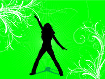 Sexy female. Silhouette of a sexy female on a decorative background Stock Photography