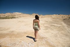 Sexy female at bardenas reales Stock Images