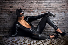 Sexy female in black catwoman costume Royalty Free Stock Image