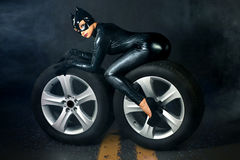 female in black catwoman costume Stock Photography