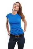 female with blank blue shirt Stock Photo