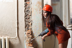 Sexy female builder Stock Photo