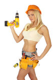 Sexy  female construction worker. Sexy blonde female construction worker Royalty Free Stock Photo