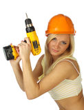 Sexy  female construction worker. Sexy blonde female construction worker Stock Photos