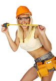 Sexy  female construction worker. Sexy blonde female construction worker Stock Photography