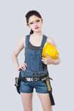 Sexy female construction worker Stock Photo
