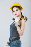 Sexy female construction worker. Sexy asian female construction worker Royalty Free Stock Photography