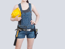 Sexy female construction worker Stock Photos