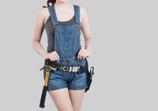 Sexy female construction worker. Sexy asian female construction worker Royalty Free Stock Photos