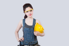 Sexy female construction worker Royalty Free Stock Images