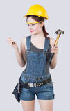 Sexy female construction worker Stock Photography