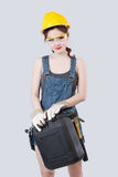 Sexy female construction worker Royalty Free Stock Image