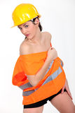 Sexy female construction worker Stock Images