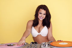 Sexy female DJ. Royalty Free Stock Photo