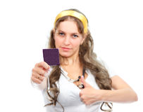 Sexy female doctor recommends using condoms Stock Images