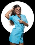 female doctor with stethoscope on a white circle and black background stock images