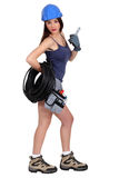 Sexy female electrician. Ready to start work Royalty Free Stock Images