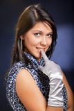 female face with finger in mouth Royalty Free Stock Photos