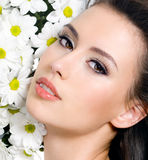 Sexy female face with flowers Royalty Free Stock Photos