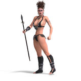 Sexy female fantasy Barbarian Stock Image