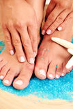 female feet and hands Stock Photos