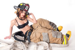 Sexy Female Firefighter Royalty Free Stock Photo