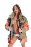 Female Firefighter. Brunet female firefighter glamour stock photography