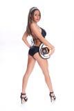 Female Firefighter. Brunet female firefighter glamour stock photo