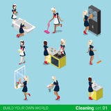 Sexy female housemaid maid cleaner flat 3d isometr Royalty Free Stock Image