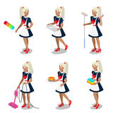 Sexy female housemaid maid cleaner flat 3d isometric vector Stock Images