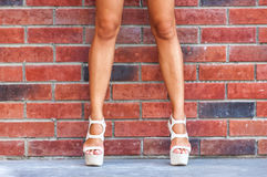 Sexy female legs bricks wall Stock Image