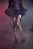 Sexy female legs in fishnet stockings and high heel shoes. Studio shot on smoky background Stock Images