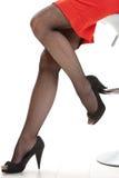 Female legs in high heels fishnet stockings. Female legs in black high heels and fishnet stockings, red mini skirt. White background, sitting, close up. Flirting stock image