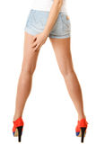 Sexy female legs in high heels isolated. Part of body. Royalty Free Stock Images