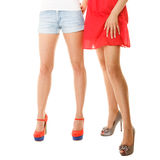 female legs in high heels isolated. Part of body. Stock Photography