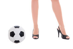 Sexy female legs and soccer ball isolated on white Stock Image