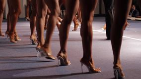 Female legs walking. Fit women walk on stage. Contestants lining up. Preliminary judging at fitness contest stock footage