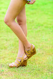 Sexy female legs wearing shoes with the grass Royalty Free Stock Image