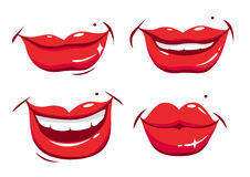 Sexy female lips set Stock Photos