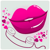 Sexy female lips and telephone Royalty Free Stock Photo