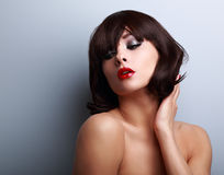 Sexy female model posing with black short hairstyle Royalty Free Stock Images