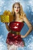 Sexy female model santa claus Stock Photos