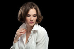 Sexy Female Model White Shirt Looking Down Stock Images