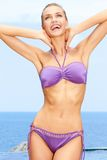 Sexy female in purple bikini Royalty Free Stock Images