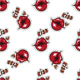 female red lips kiss seamless pattern. Red lips pattern. Comic pattern. Vector stock. Royalty Free Stock Photography