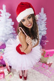 Sexy female santa claus. She's so cute of santa claus Royalty Free Stock Photography