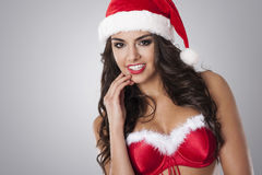 Sexy female santa claus Stock Images