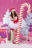 Sexy female santa claus Stock Photo